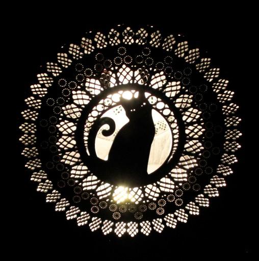Lampa Kot Koci Witraż Luna Stojąca Stołowa Folk