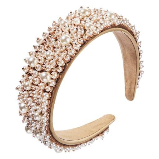 Opaska szeroka diadem biała Ślub perły perełki