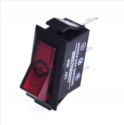 Włącznik samochodowy podświetl czerwony 12VDC 20A