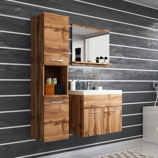 Meble łazienkowe szafka pod umywalkę lustro słupek