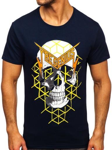 T-SHIRT Z NADRUKIEM GRANATOWY Y70002 DENLEY_XL 10552379029 Odzież Męska T-shirty EP QFKTEP-5