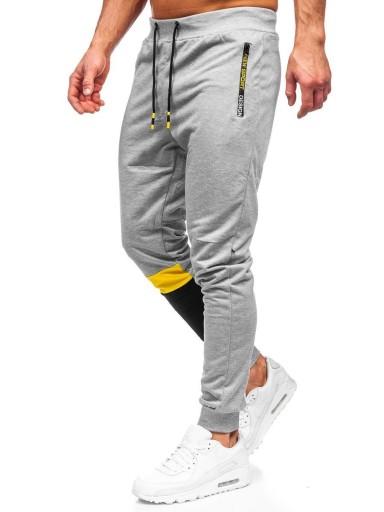 SPODNIE MĘSKIE DRESOWE SZARE K10211 DENLEY_M 10671203656 Odzież Męska Spodnie PP HYQEPP-2