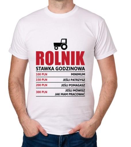 koszulka ROLNIK stawka godzinowa prezent 10001835767 Odzież Męska T-shirty EJ RXKUEJ-7