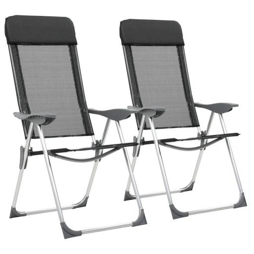 Składane krzesła turystyczne 2 szt. czarne