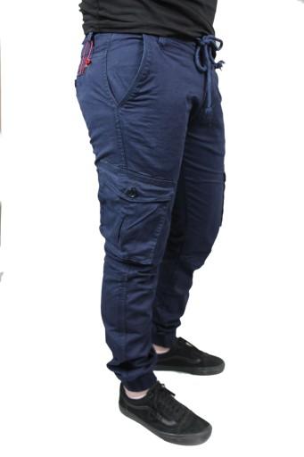 SPODNIE MĘSKIE JOGGERY BOJÓWKI GRANATOWE 9194101671 Odzież Męska Spodnie IK WBKLIK-7