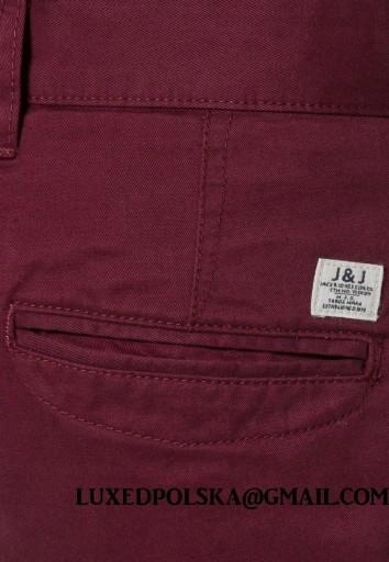 Jack Jones CHINOSY bordowe SPODNIE ŚLIWKOWE 38/32 10626850516 Odzież Męska Spodnie ME VWYXME-1