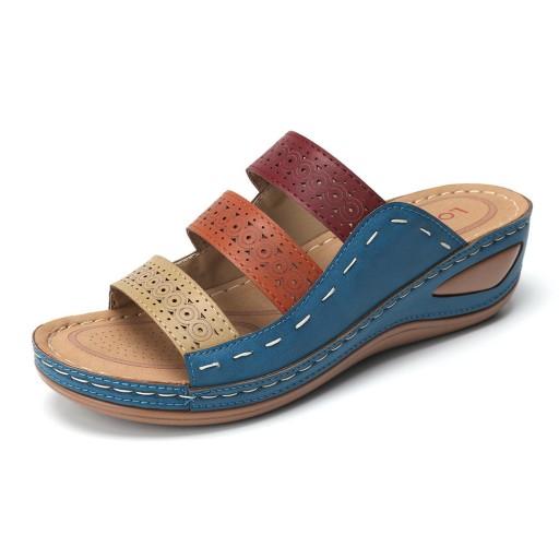 Sandały delikatne, otwarte klapki na koturnie 10514600197 Obuwie Męskie Męskie AN YIKSAN-4