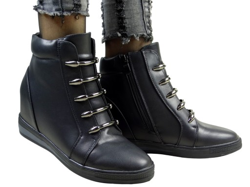Czarne Botki Sneakersy Na Koturnie Comfort 41 9622775008 Allegro Pl