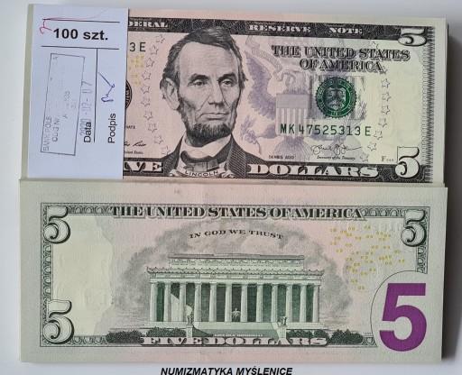 5 $ Dolarów Nówki szt 2013 r Seria MK - ST 1/UNC