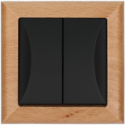 Wyłącznik podwójny OPAL drewno / czarny