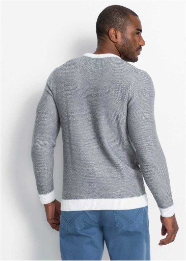 *B.P.C sweter męski szaro-biały melanż XL. 10771685919 Odzież Męska Swetry QM HDSGQM-4