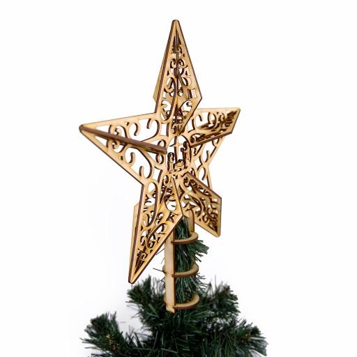Drewniana Gwiazda Na Choinke Duza Azurowa Czubek 9877994204 Allegro Pl