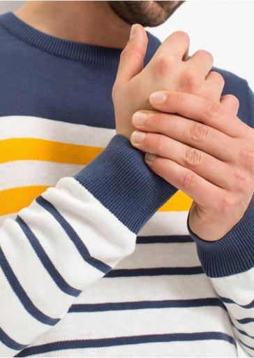 DOPASOWANY SWETER PULLOVER W PASKI 48-50 10779688663 Odzież Męska Swetry OT RVISOT-2