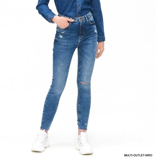 Hit Spodnie Jeansy High Waist Z Przetarciami Cropp 9343519058 Allegro Pl