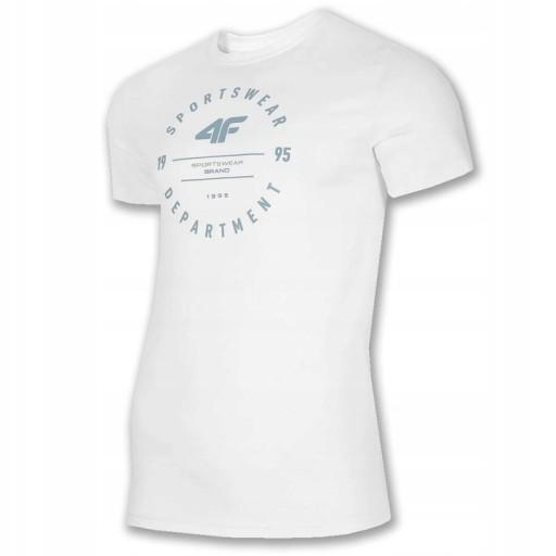 Koszulka Męska 4F TSM030 BIAŁA T-Shirt XL 10758700384 Odzież Męska T-shirty AE MJEEAE-5