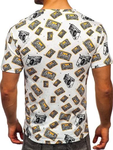 T-SHIRT MĘSKI Z NADRUKIEM BIAŁY 14903 DENLEY_2XL 10102565544 Odzież Męska T-shirty UG AKBZUG-9