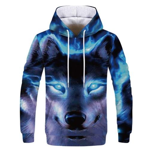 z nadrukiem cyfrowym Blue eyes Wolf Sweter męski 9813476660 Odzież Męska Swetry UV ACDWUV-1