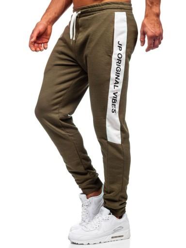 SPODNIE DRESOWE MĘSKIE KHAKI N1216 DENLEY_2XL 9734675045 Odzież Męska Spodnie NI FVKHNI-1