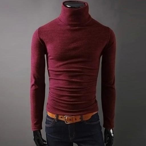 esień i zimę Sweter męski z golfem Dzianina męska 9814306752 Odzież Męska Swetry PH JHVWPH-4