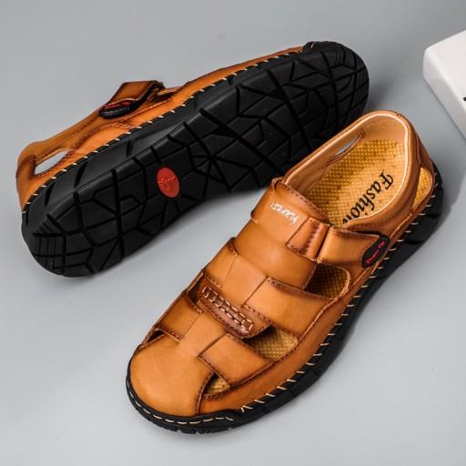 Sandały kapcie modne buty robocze męskie skorzane 10587868038 Obuwie Męskie Męskie KD QAFSKD-5