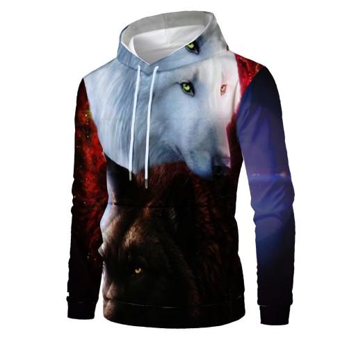 nadrukiem wilka Męskie wygodne luźne Sweter męski 9813475164 Odzież Męska Swetry UZ DTBNUZ-6