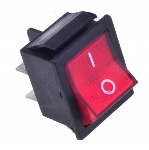 Włącznik kołyskowy podśw. duży 12VDC czerwony