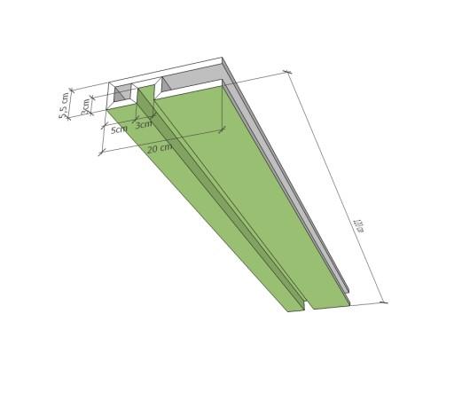 OBNIŻENIE SUFITU LED SPG z PŁYTY GK PROFIL U 120cm