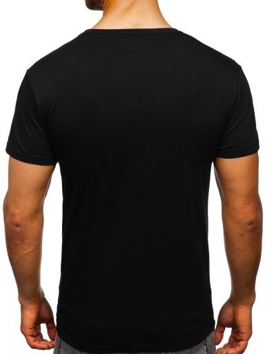 T-SHIRT MĘSKI Z NADRUKIEM CZARNY 10896 DENLEY_L 10145908056 Odzież Męska T-shirty PO UZKLPO-8
