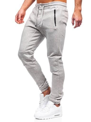 SPODNIE MĘSKIE DRESOWE SZARE 4966 DENLEY_2XL 10567497012 Odzież Męska Spodnie QU RBOPQU-5