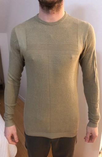 Sweter zara khaki M cienki wiosna 10778906244 Odzież Męska Swetry KQ DFSVKQ-9