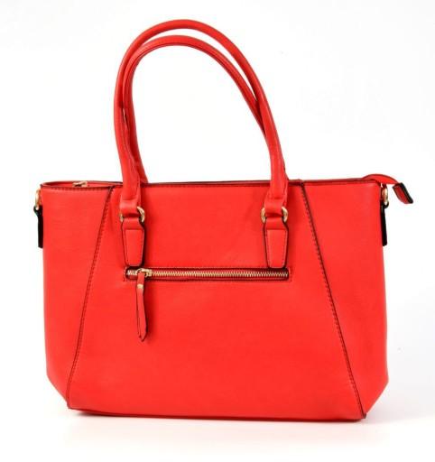 Duża torebka zdobiona zamkami czerwona