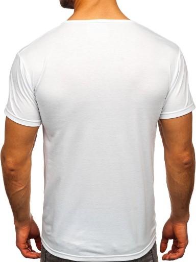 T-SHIRT MĘSKI Z NADRUKIEM BIAŁY KS2368 DENLEY_L 9978343487 Odzież Męska T-shirty UY HLTLUY-2