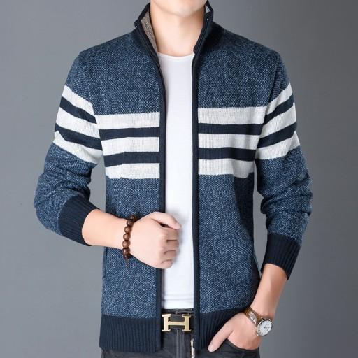 Męski sweter ze stÓjką, duży, zapinany na zamek, g 10709694200 Odzież Męska Swetry NS ZETVNS-3