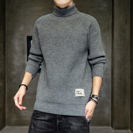 Męski sweter z golfemMęska męska dzianina Cross-bo 10709693583 Odzież Męska Swetry YJ DHJXYJ-2