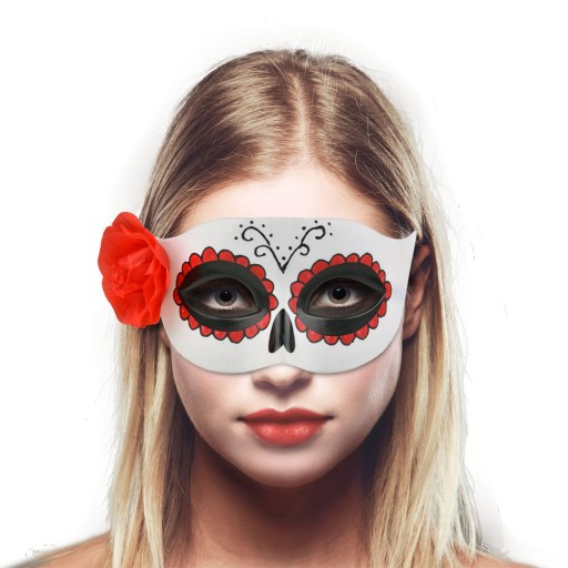 Maska wenecka Dia de Los Muertos z różą Halloween