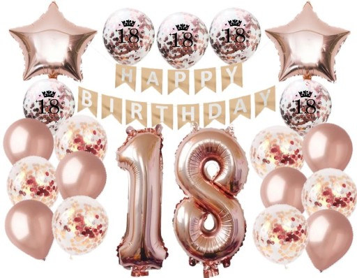 Osiemnaste Urodziny 18 Zestaw Balony Dekoracje 9114854987 Allegro Pl