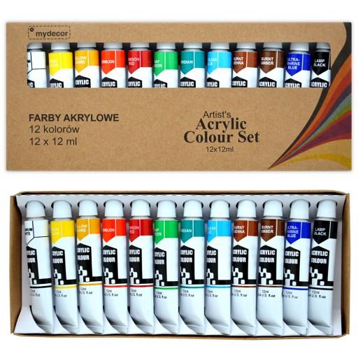 Farby Akrylowe Eco-Friendly Mydecor 12x12ml ZESTAW