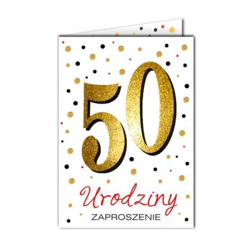 Zaproszenia Na 50 Urodziny Brokatowe 10 Sztuk 8516374923 Allegro Pl