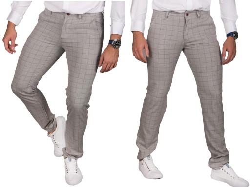 Spodnie chinosy szare w kratę 2006 rozm. 40 9865588418 Odzież Męska Spodnie GZ JNQQGZ-8