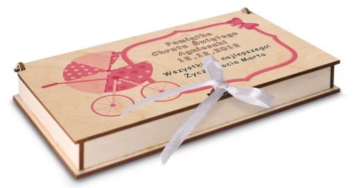 Pudełko na banknoty chrzest prezent upominek wzory
