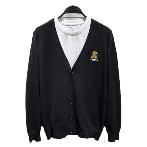 Sweter rozpinany z haftowanym misiem 10709683911 Odzież Męska Swetry NL LLXXNL-8