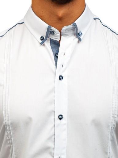 KOSZULA MĘSKA ELEGANCKA BIAŁA 8821 ROZMIAR_M 9997115078 Odzież Męska Koszule IZ SEOJIZ-5