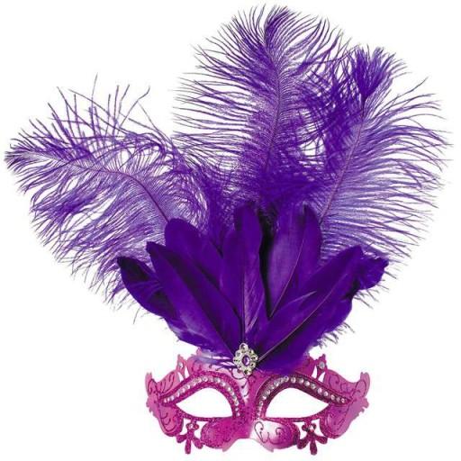 MASKA fioletowa WENECKA VIOLETTA karnawałowa pióra
