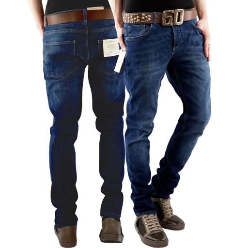 SELECTED Granatowe Klasyczne Rurki Skinny 30/32 10491291535 Odzież Męska Spodnie FN KIOJFN-5