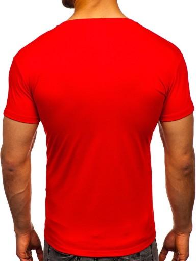 T-SHIRT MĘSKI GŁADKI JASNOCZERWONY 2005 DENLEY_XL 9286650220 Odzież Męska T-shirty ID JUUKID-8