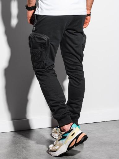 Spodnie męskie dresowe joggery P918 czarne L 10632264113 Odzież Męska Spodnie AE TMMGAE-3