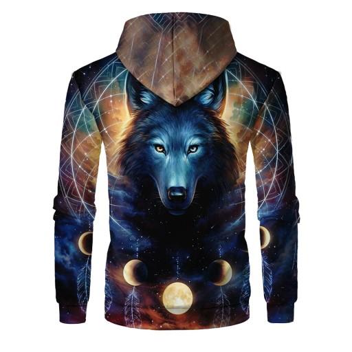 Sweter męski Męski sweter z kapturem z nadrukiem c 9626476264 Odzież Męska Swetry JE MFHYJE-7