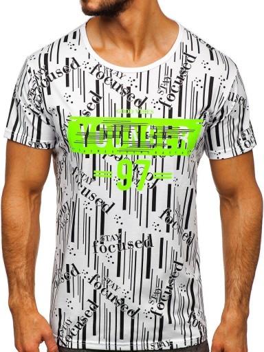 T-SHIRT MĘSKI Z NADRUKIEM BIAŁY KS1993 DENLEY_M 10162977956 Odzież Męska T-shirty LG QYPQLG-2