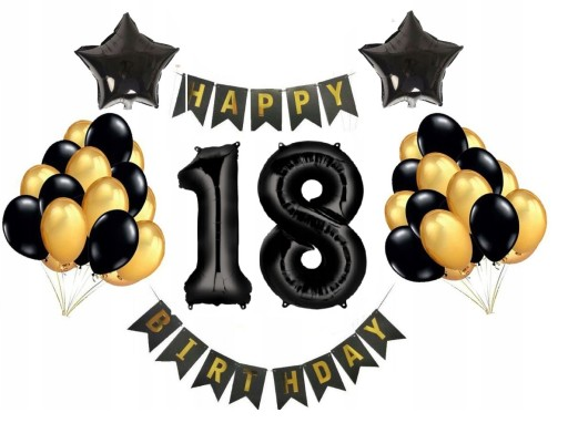 Zestaw Dekoracji Balony 18 Urodziny Czarno Zloty 9568589633 Allegro Pl