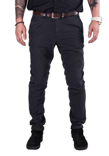 R.32/L34 PAS 86cm lniane CHINOSY czarne Adan 9883821262 Odzież Męska Spodnie PM RKLKPM-6